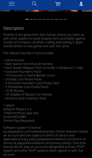 PSN Marketplace. No mention of early access here either. Hmm...